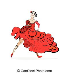 tango dancer in red dress