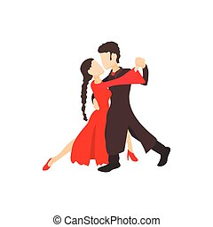 Tango dancers icon, cartoon style