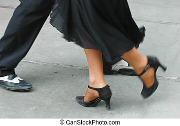 Tango feet - Feet of a couple dancing Tango in Buenos Aires.