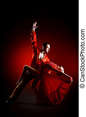 tango red - Professional dancers perform latino dance....