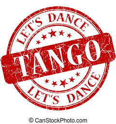 Tango red vintage grungy isolated round stamp
