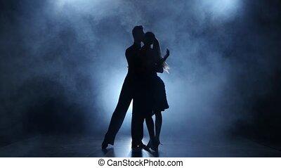 tango, sylwetka, profesjonalny, studio, dymny, przedstawianie, para, tancerze