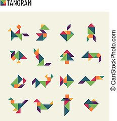 Tangram children brain game cutting transformation puzzle...