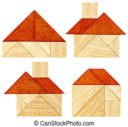 tangram house abstracts - four abstract pictures of a house...