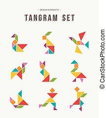 tangram, jogo, criativo, arte, de, coloridos, animal, formas