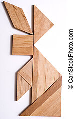 Tangram Puzzle Figure: Rabbit - Rabbit built from pieces of...
