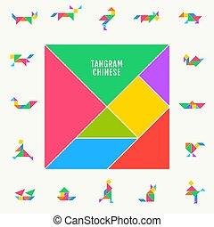 tangram, triangle, chinois, puzzle, illustration, traditionnel, vecteur, carrée, gabarit, géométrique, set.