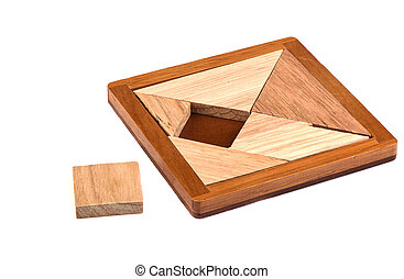 Tangram wooden puzzle isolated on white background.