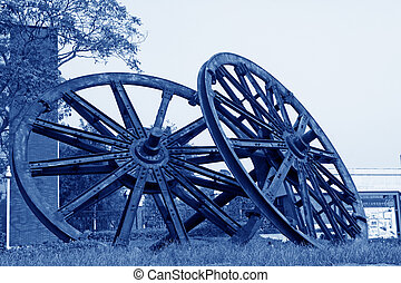 TANGSHAN - OCTOBER 18: The big wheel model building in the kailuan national mine park on october 18, 2013, tangshan city, hebei province, China.