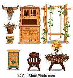tanière, illustration., forestier, hutte, vecteur, hunter., intérieur, ou, meubles