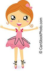 taniec, balerina, dziewczyna, w, odizolowany, na białym