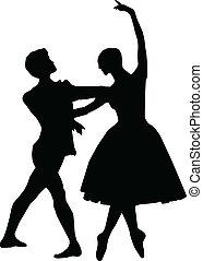 taniec, chłopiec, balet, silhouett, dziewczyna