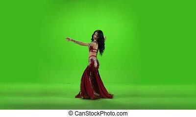 taniec, dress., brzuch, czerwony, taniec