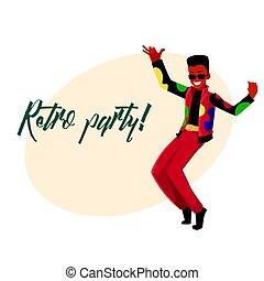 taniec, dyskoteka, zaproszenie, czarnoskóry, retro, 80ą, partia, człowiek, odzież