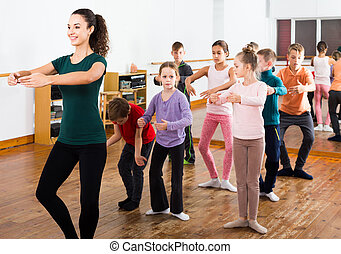 taniec, dzieci, klasa, styl, lud, badając
