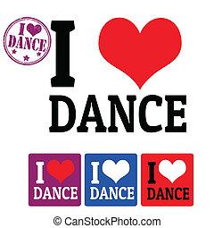 taniec, etykiety, miłość, znak