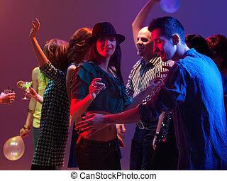 taniec, klub, ludzie, młody, noc, szczęśliwy