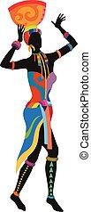 taniec, kobieta, etniczny, afrykanin
