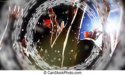 taniec, koncert, ruchomy, jarzący się, ludzie, przeciw, koło