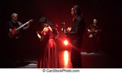 taniec, lekki, dance., za, dziewczyna, flamenco