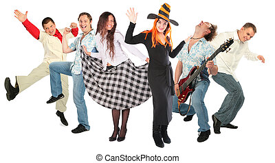 taniec, ludzie, grupa, odizolowany