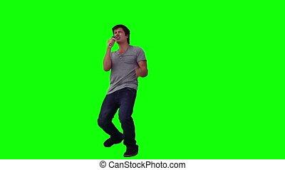 taniec, mikrofon, jego, śpiew, człowiek