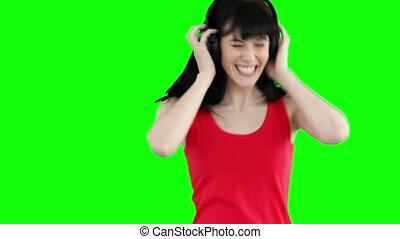 taniec, muzyka, znowu, słuchający, kobieta, szczęśliwie