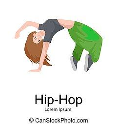 taniec, nowoczesny, odizolowany, tancerz, samica, dziewczyna, styl, taniec, młody, nastolatek, chmiel, chłodny, biodro, taniec, ruch, poza, ilustracja, złamanie, sexy, kobiety, waga, illustration., tchórzliwy, wektor