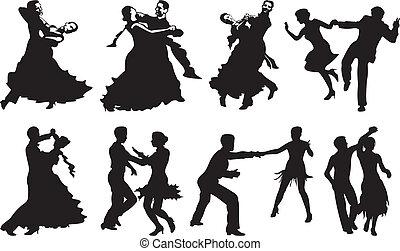 taniec, para, ikona, -, taniec