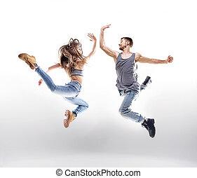 taniec, para, na, przedimek określony przed rzeczownikami, białe tło