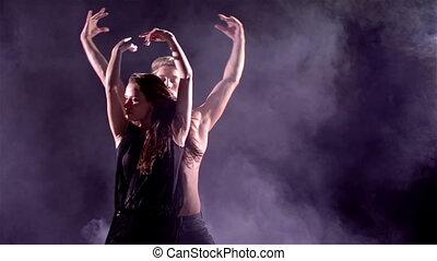 taniec, para, wystający