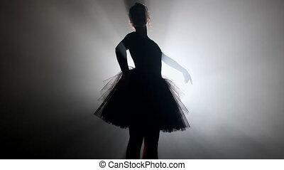 taniec, rusztowanie, nowoczesny, ruchy, dym, występuje, ...