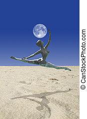 taniec, sahara, księżyc
