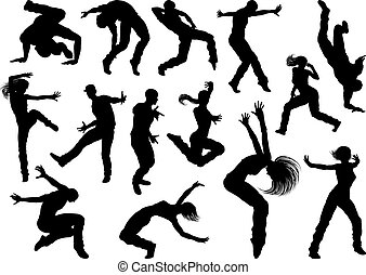 taniec, sylwetka, ulica, tancerz