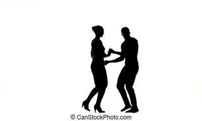 taniec, tancerze, dwa, sylwetka, ostatni, latino, biały