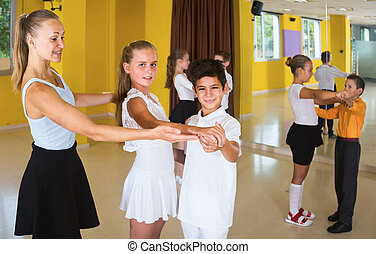 taniec, taniec, dzieci, klasa, para