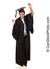 taniec, uniwersytet, młody, absolwent, samiczy afrykanin