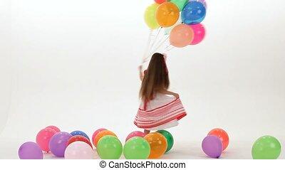 taniec, z, balony