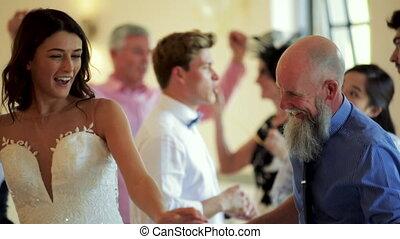 taniec, z, tatuś, na, jej, poślubny dzień
