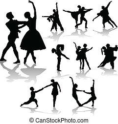 taniec, -, zbiór, pary, sylwetka, wektor