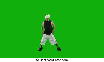 taniec, zielony, ekran, facet, biodro-skaczą