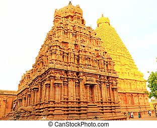 tanjore, brihadeshwara, sedimento, thanjavur, tamil, templo, nadu