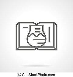 tankönyv, képben látható, kémia, lapos megtölt, vektor, ikon