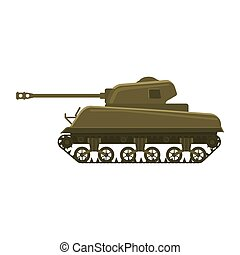 Tank American World War 2 M4 Sherman medium tank. Military army machine war, weapon, battle symbol silhouette side view icon. Vector illustration isolated