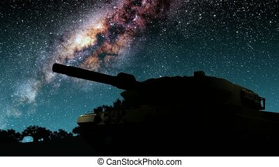 tank and Milky Way stars at night. Elements of this image furnished by NASA