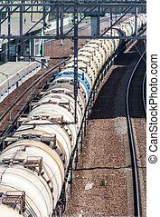Tank cars - Train with tank cars on the station