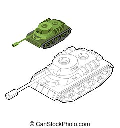 Tank coloring book. Army equipment in linear style. Armored fighting vehicles, tracked with gun and machine gun