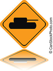 Tank crossing sign with reflection isolated