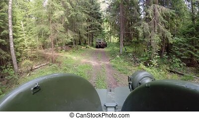 Tank driving in forest
