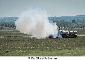 Tank firing gun - Vetran Russian T55 battletank firing main...